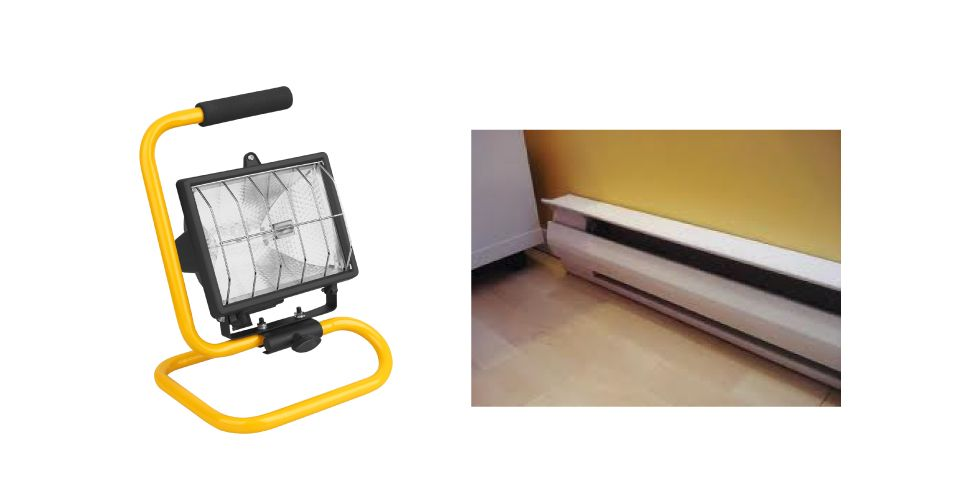 Halogen work lamp and electric heater